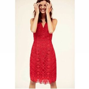 Anthropologie Maeve Red Lace Campari Column Dress